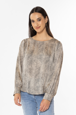 Forever Champagne Mini Cheetah LS Top