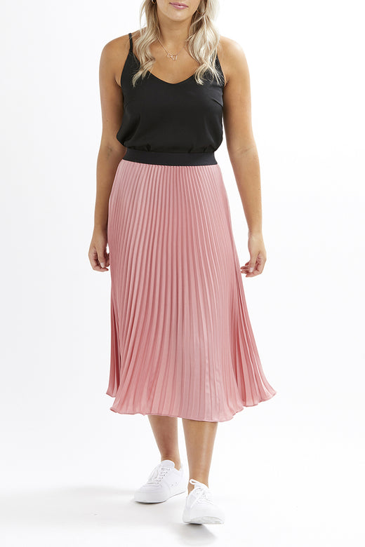 Sunray Pleated Rose Satin Skirt
