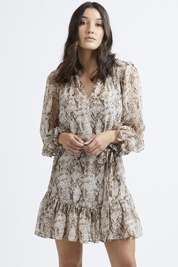 Inspire LS Brown Snakey Frill Hem Shift Dress