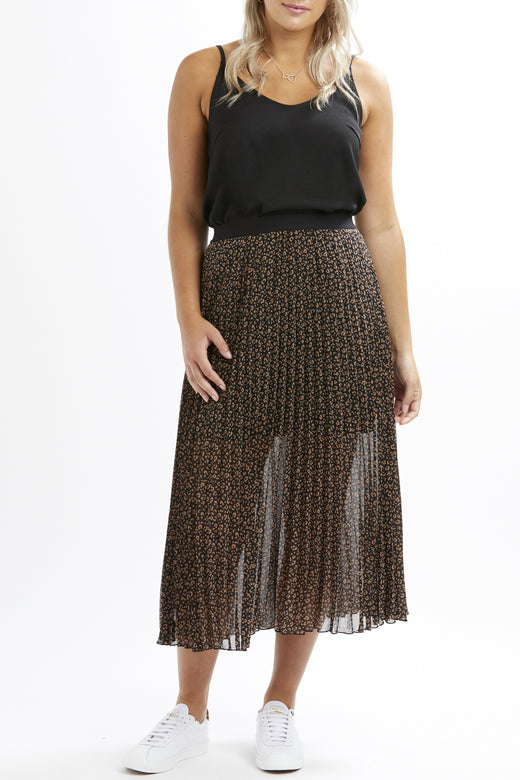 Sunray Black Animal Print Chiffon pleated Skirt