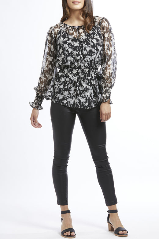 Love Wins Black Sketch LS Shirred Waist Top