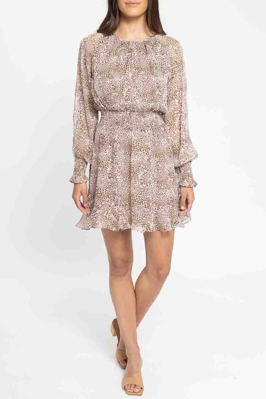 Love Wins Latte Leopard LS Shirred Waist Dress