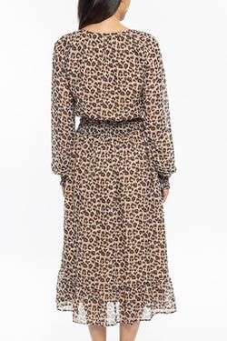 Harmony Coffee Leopard Long Sleeve Midi Dress