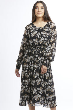 Harmony Fawn Floral Long Sleeve Midi Dress