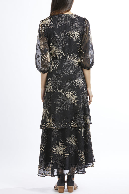 Paradise Black Floral LS Frill Maxi Wrap Dress