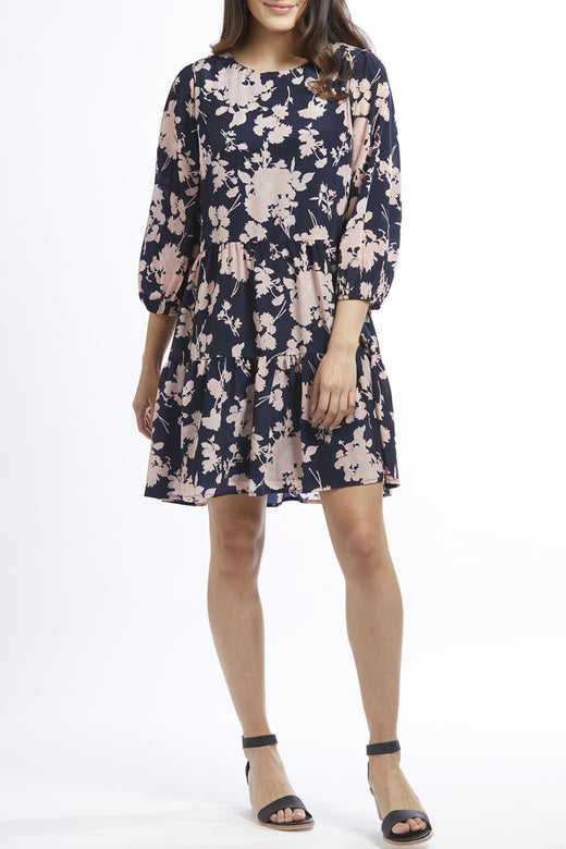Amy Navy Pink Floral Smock Dress with Tiers