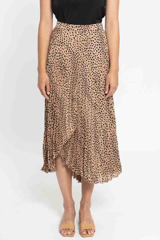 High Low Caramel Mini Leopard Crossover Pleat Skirt