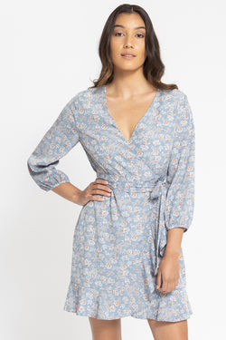 Devoted Blue Floral Puff Sleeve Wrap Mini Dress
