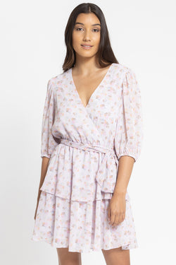 Camella Lilac Mock Wrap Frill Dress