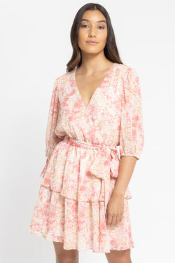 Camella Pink Mock Wrap Frill Dress