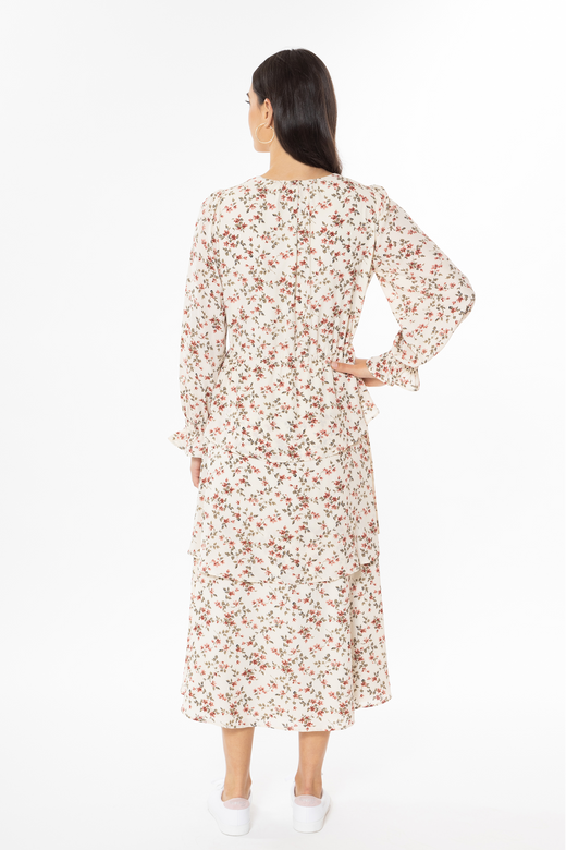 Audrey ivory Floral LS V-Neck Ruffle Skirt Midi Dress