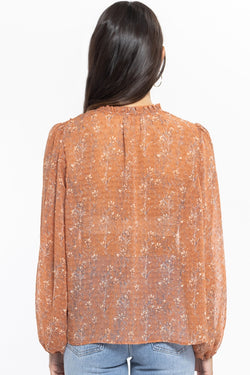 Poetic Cinnamon Floral Dobby Blouson Sleeve  Top