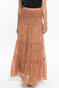 Creative Cinnamon Floral Dobby Shirred Waist Tiered Maxi Skirt