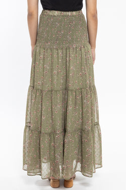 Creative Sage Floral Dobby Shirred Waist Tiered Maxi Skirt