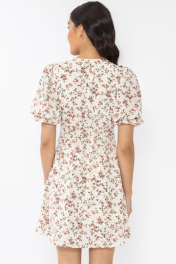 Genuine Ivory Vintage Floral SS Button Front Mini Dress