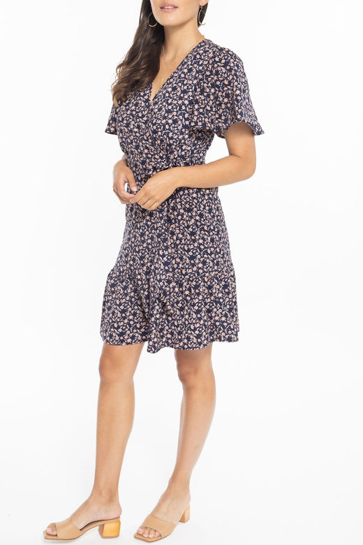 Hazel SS Navy Mini Wrap Dress