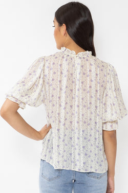 Passionate Lavender Sheer Stripe Floral Puff Sleeve High Neck Top