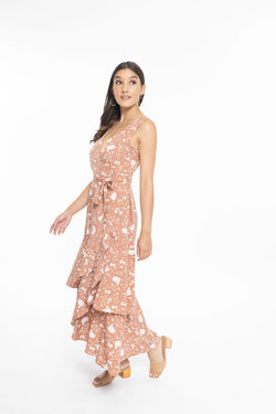 Vibrant Toffee Bloom SL Wrap Tiered Maxi Dress