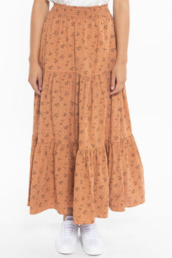 California Rust Spring Ditsy Tiered Midi Skirt