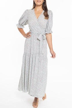 Willow Mint Ditsy Puff Sleeve Wrap Midi Dress