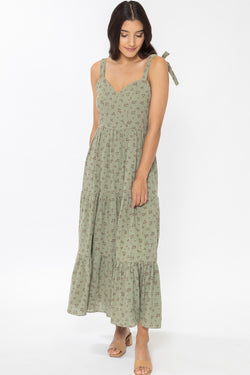 Aligned Olive Garden Shoulder Tie Tiered Midi Dress