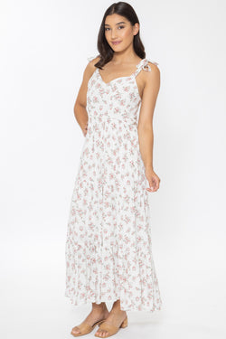 Aligned White Floral Shoulder Tie Tiered Midi Dress