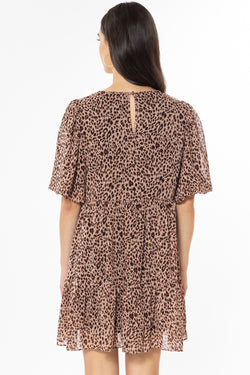 Thriving Peach Leopard Bubble Sleeve Smock Dress