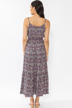 Lazy Days Navy Pink Floral Splash Strappy Tiered Maxi Dress