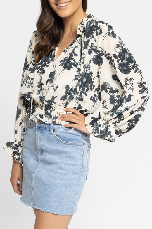 Flying High Cream Charcoal Floral LS Frilled Hem Top