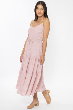 Hope Blush Shirred Tiered Strappy Midi Dress