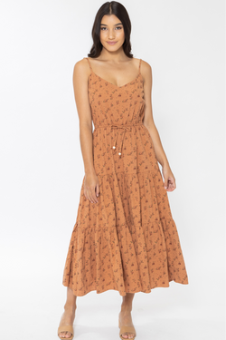 Hope Rust Spring Ditsy Tiered Strappy Midi Dress
