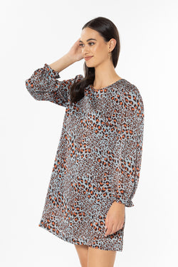 Wanderer Blue Tiger LS Shift Mini Dress