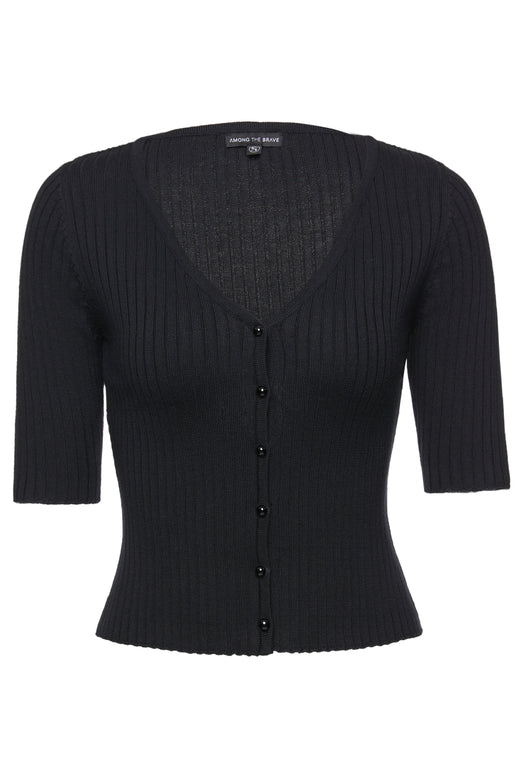 Blessed Black Half Sleeve Rib Knit Cardigan