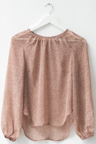 Sunset Pink Animal Puff Sleeve Georgette Top
