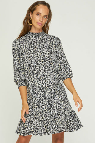 Lily Musee Black Cream Floral LS High Neck Mini Dress