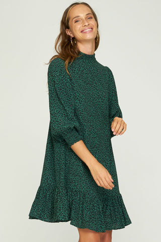 Lily LS Frill Hem Mini Green Animal Dress