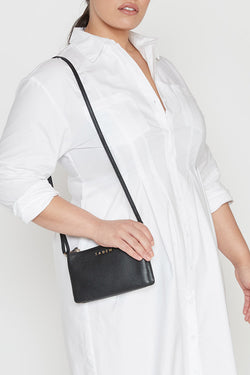 Tilly Multi Pocket Black Leather Crossbody Clutch