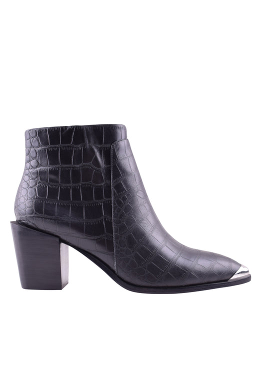 Sammy Black Croc Ankle Boot