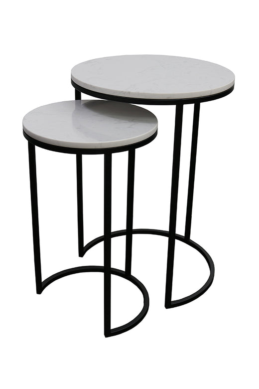 Santo Nest of Tables Black + White Marble
