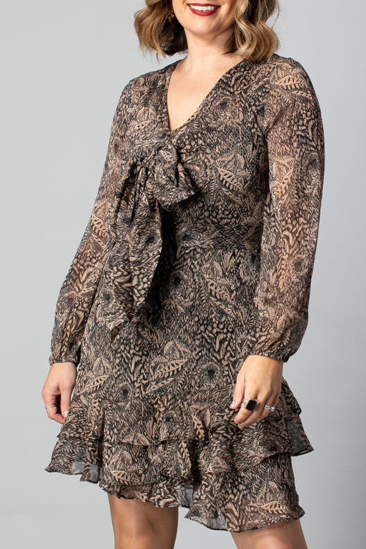 Shanty Lion Print LS Mini Dress