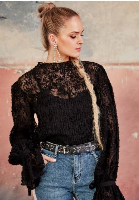 Off The Cuff Black Lacey Top