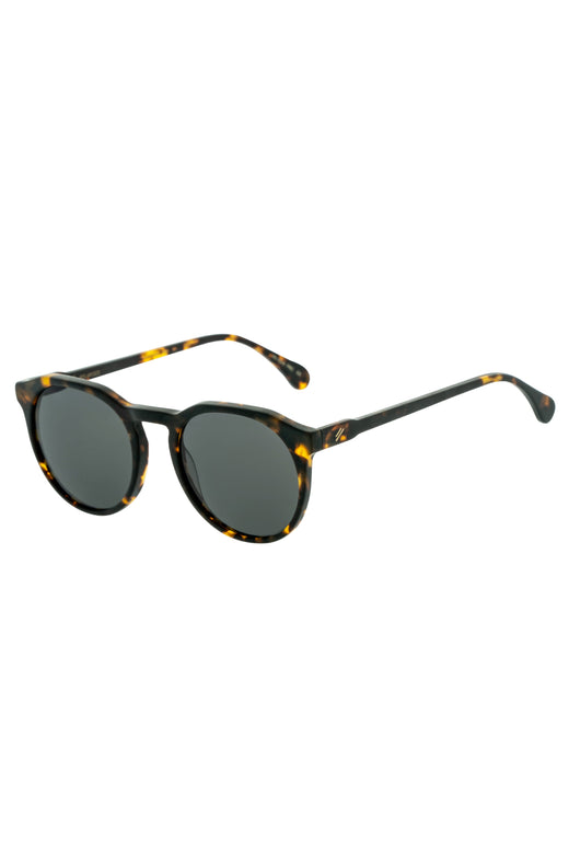 Sheyd Matte Dark Tort Grey Polarised Round Thin Sunglasses