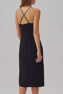 Signal Strappy Button Midi Black Dress