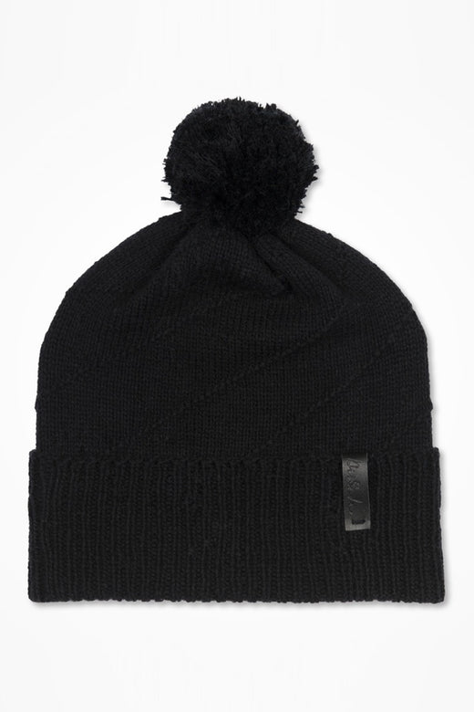 Signe Knitted Wool Black Beanie with Pompom
