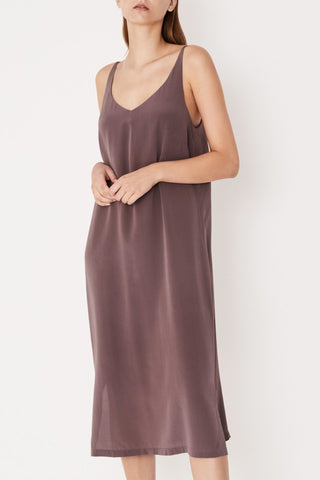 Silk Deep V Mauve Cami Dress