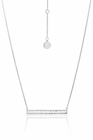 Long Way Horizontal Bar Silver Necklace