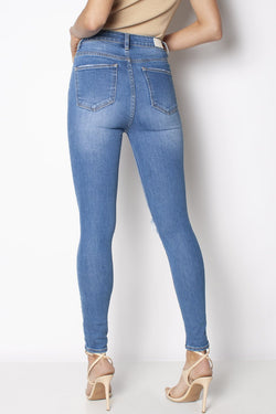 Skyscraper Knee  Rip Blue Sapphire Trash Denim Jean