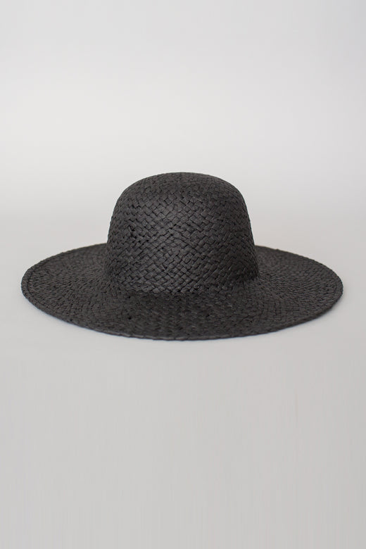 So Chic Woven Black Hat