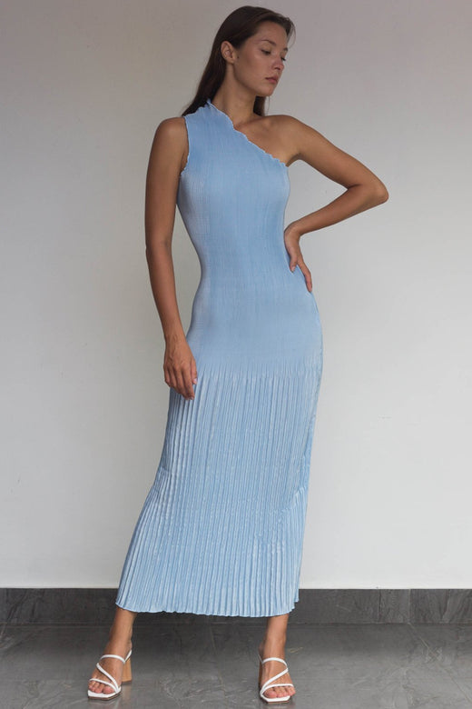 Soiree One Shoulder Ice Blue Pleated Maxi Dress
