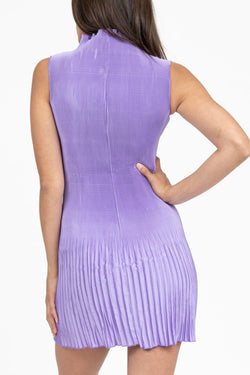 Soiree Gown Lilac High Neck Pleated Mini Dress